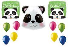 Panda Pandemonium Head Jungle Zoo Happy Birthday Party Mylar Latex Balloons Set