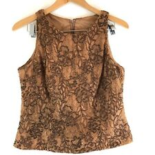 Carmen Marc Valco Beaded Lace Top Brown Floral Pattern Evening Wear Size 10
