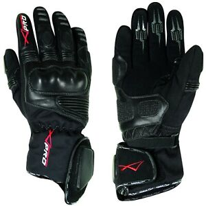 Gloves Leather Professional Textile Motorcycle Bike WaterProof Thermal Black XXL