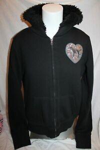 PINK Victoria's Secret Women Black Hooded Coat Jacket Heavyweight Fuzzy Bling L