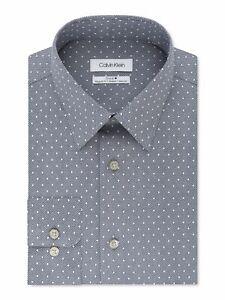 Calvin Klein Mens Dress Shirt Gray Size 18 Regular Fit Stretch Non-Iron $79 #132