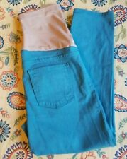 JUST BLACK OVER THE BELLY SLIM LEG CROP LENGTH MATERNITY JEANS TEAL
