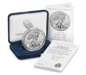 IN STOCK: 2019 S ENHANCED REVERSE PROOF SILVER EAGLE WITH BOX AND NUMBERED COA