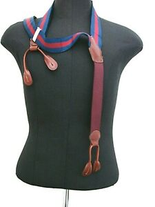 J PRESS ENGLISH ADJUSTABLE SUSPENDERS NAVY-MAROON STRAPS-BRASS BARS-TAN LEATHER