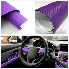 Purple Waterproof 3D Carbon Fiber Car Interior Dashboard Vinyl Film Wrap Sticker