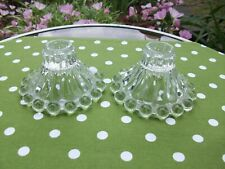 "2 ANTIQUE HOBNAIL CLEAR GLASS REVERSIBLE CANDLE HOLDERS TAPER / PILLAR 3"" TALL"