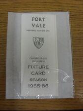 1985/1986 lista de iluminación: Port Vale-oficial de cuatro tarjeta de estilo de página. gracias por V