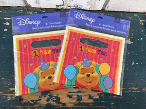 16 Winnie The Pooh 1 Year Old  Party Favor Treat Loot Goody Goodie Bags NIP NEW