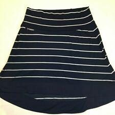 Icebreaker Merino Wool Hi-Low Pull On Skirt Navy White Striped Womens Size XL