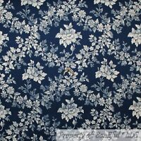 BonEful FABRIC FQ Cotton Quilt VTG Navy Blue Cream Rose Flower Leaf Toile Damask