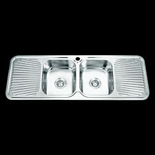 Drop In Topmount Stainless Steel Double Bowl Drainer Kitchen Sink 1380x480