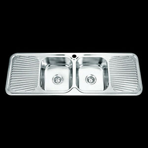 Drop In Topmount Stainless Steel Double Bowl Drainer Kitchen Sink 1380x480mm