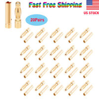 20 Pairs 4.0mm Banana Bullet Connector Plug Male Female for RC Battery ESC Motor