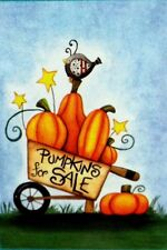 Pumpkins For Sale- Bird in Wheelbarrow  Garden Flag