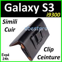 Housse Coque Etui Pochette Simi Cuir Clip Ceinture Samsung Galaxy S3 S III I9300