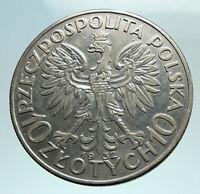 1932 POLAND Queen Jadwiga & Eagle Polish Antique Silver 10 Zlotych Coin i79807