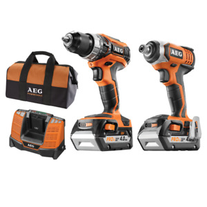 AEG 2 Piece 18V Cordless Hammer Drill & Impact Driver Kit 4Ah x 2 Combo Kit +Bag