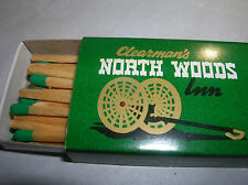 Matchbook box Vintage Clearan's NORTH WOODS INN AdvertiSE MATCH COVER Matches X