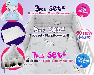 3-5-7 items BABY NURSERY SET- fit COT 120X60 - COT BED 140X70 - MORE DESIGNES