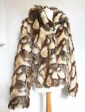 TOPSHOP Brown Cream Faux Fur Jacket Size 12 Autumn Winter Shaggy Boho