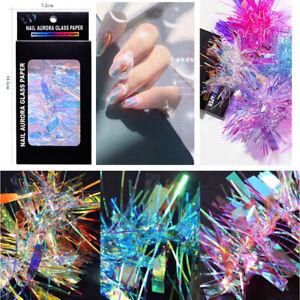 6 Pcs Foil Laser Aurora Sticker Strip Nail Art Glass Paper Glitter Shiny Decor