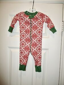Hanna Andersson 60 Red Green Zipper Pajamas Toile Floral Holiday Christmas 6-9
