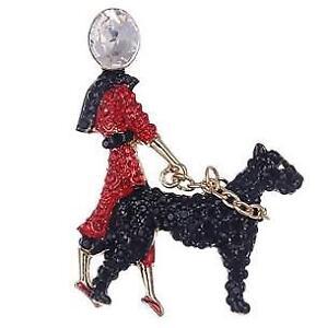 Elegant Art Deco style Diamante Lady walking Black Dog Brooch Pin