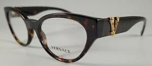 Versace Eyeglasses NEW 3282 Color 108 Havana Size 53 Large Authentic Cat Eye