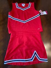 cheerleading uniform girls XL red with White and navy blue braiding
