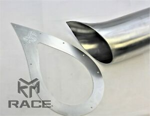"""KLM Tear Drop Exhaust Tip 4"""" Stainless Steel With Aluminum Trim  Plate"""