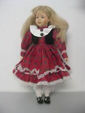 "Porcelain Girl Doll 12"" Tall Blue Eyes Blonde Hair Red Dress Halloween Prop"