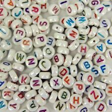 200 x 7mm Pastel Colour Name Alphabet Letter Kids Beads Round Circle AB2