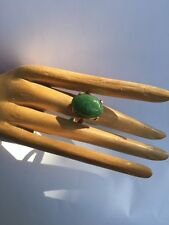 R21 antiqu JADEITE RING natural un-treated DEEP GREEN size 8 sterling/14k c.1900