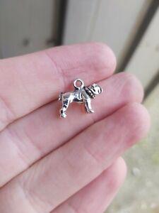 20 x bulldog silver Charms Pendants UK New (am126)  jewellery  16x13mm dog