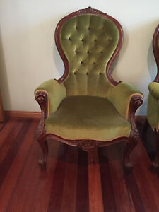 Two Victorian Style Grandfather Chairs