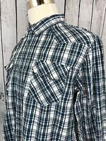 Levi's Modern Fit Western Pearl Snap Blue White Plaid Mens Long Sleeve Shirt L