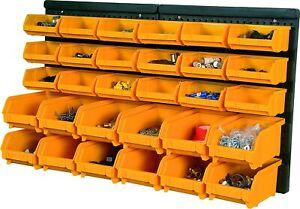 Garage Workshop Plastic Wall Storage Bin Kit Organiser with 30 bins