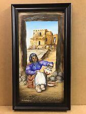 Indian Pueblo Woman Pottery 10X20 M Cunningham Oil Painting Southwest Art Framed
