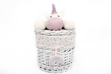 Unicorn Wicker Nursery Basket With Lid 18 X 18cm #un0141