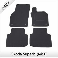 Skoda Superb Mk3 2015 onwards Fully Tailored Fitted Carpet Car Mats GREY