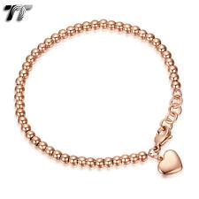TT 9K Rose Gold GP Stainless Steel 4mm Bead Heart Dangle Bracelet (CBF11Z) NEW