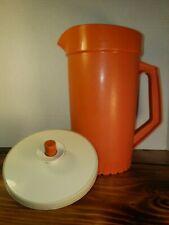 Vintage Tupperware Pitcher Orange Jug with   Almond Seal Two quarts