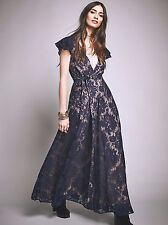 Anthropologie Free People Piazza Blue Lace Wrap Maxi Dress Jetset Diaries XS New