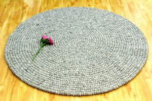 Choose Size 90-180 CM Marble Grey Felt Ball Rug Handmade Round Ball Rug Mat