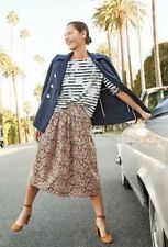 Drake's for J.Crew Giraffe Midi A-line Skirt Cotton Brown Yellow Sold Out NWT