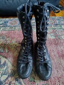 Vintage Black Leather IKKS Euro Camper Wrestling Boots Booties 9 40