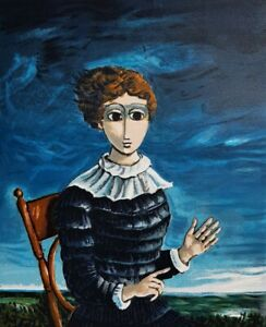 Yosl BERGNER Seated Girl - Collectible Surreal Signed Screenprint Social Realist