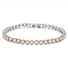 """Gold Plated Tennis Bracelet 7.5"""" 4mm Round Champagne Cubic Zirconia White"""