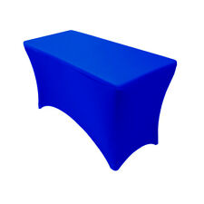YCC - Spandex 4 Ft Rectangular Table Cover Royal Blue, Fitted Stretch Tablecloth