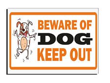 BEWARE OF THE DOG KEEP OUT -ORANGE WARNING GATE FENCE DOOR SIGN PET WARNING